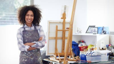 Woman standing in art studio