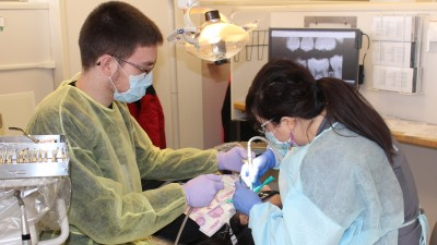 Female dental hygenist working