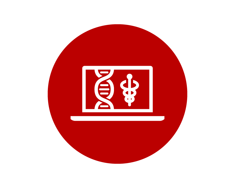 Red logo of DNA strand and medical symbol on a laptop screen.
