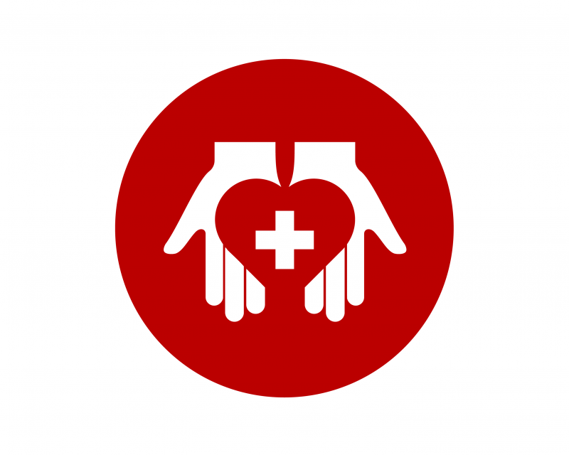 Icon of hands holding a heart with a cross in the middle.