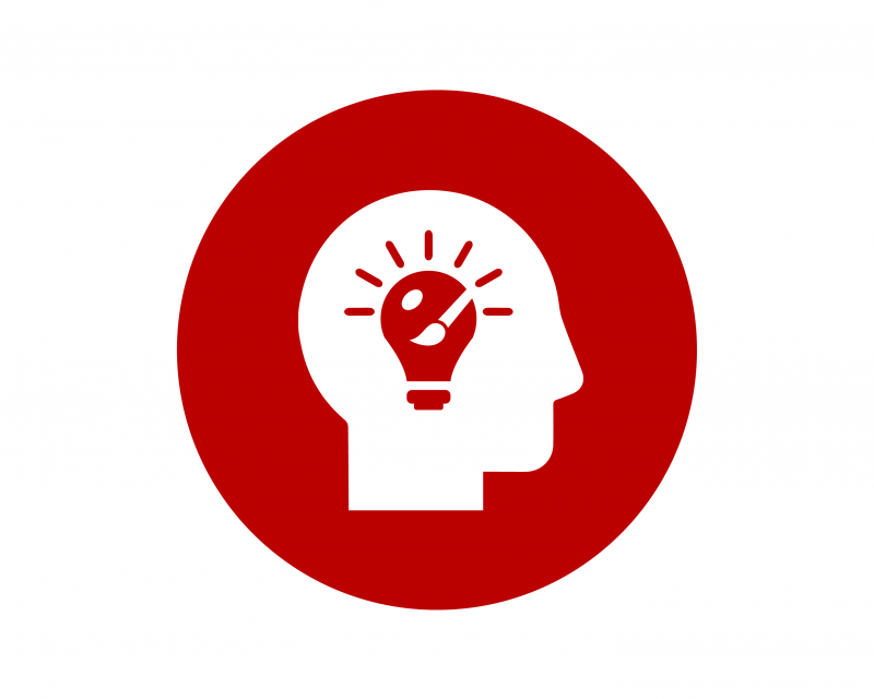 Icon of a head outline with a lightbulb and paintbrush.