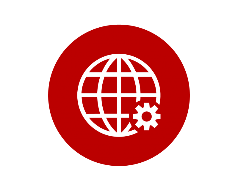 Icon of a globe with a gear.