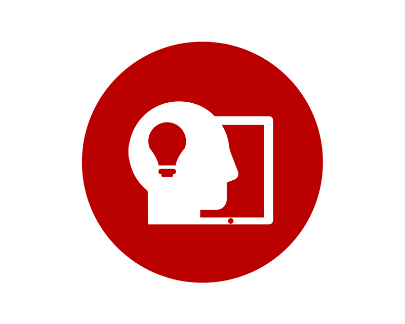 Icon of an outline of a head with a lightbulb inside it with a computer screen to the side.